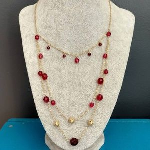 Express red, pink and gold necklace